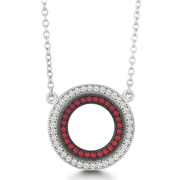 La Preciosa Sterling Silver Red and White Micro-pave Cubic Zirconia Circle Necklace