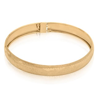 Gioelli Gioelli 10k Yellow Gold Hammered Bangle Bracelet