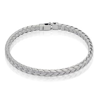 Gioelli Michelle Lee Sterling Silver Basketweave Striped Square Bracelet