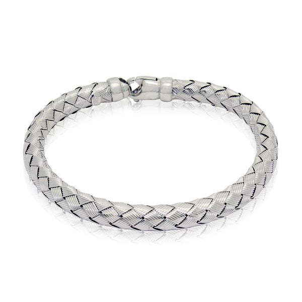 Gioelli Sterling Silver Basketweave Striped Square Bracelet