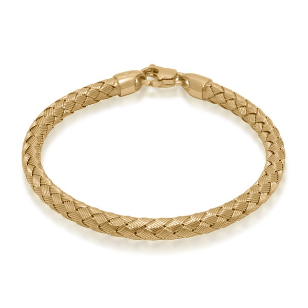Gioelli Goldplated Sterling Silver Textured Basketweave Bracelet