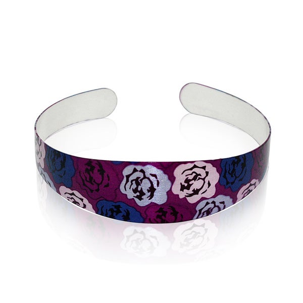 Gioelli Sterling Silver Floral Designer Cuff Bracelet