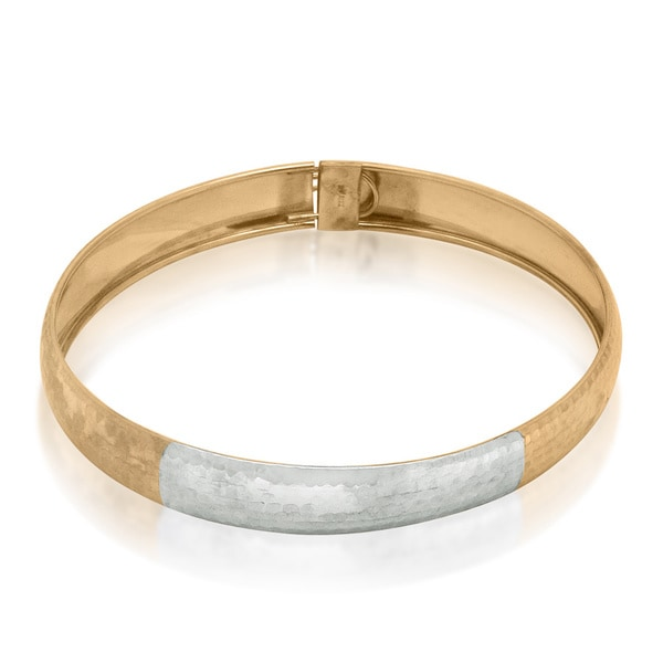 Gioelli 10k Two-tone Gold Tongue Box Hammered Bangle