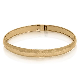 Gioelli 10k Yellow Gold Hammered Bangle Bracelet