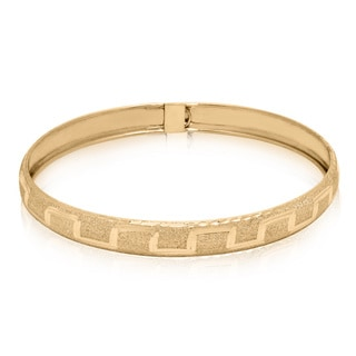Gioelli Gioelli 10k Yellow Gold Diamond-cut Roman Designer Bangle