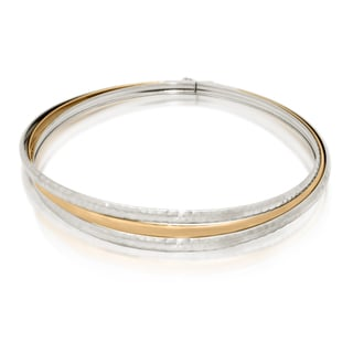 Gioelli Gioelli 10k Two-tone Gold Hammered Triple Bangle