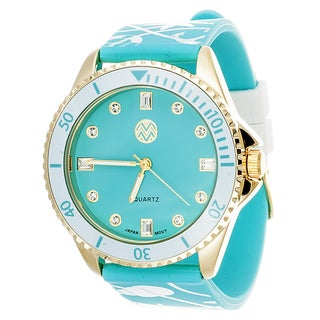 The Macbeth Collection Women's 'Sealife' Turquoise Rubber Watch