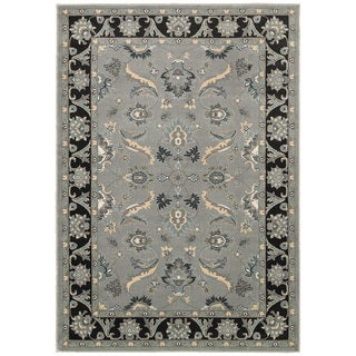 LNR Home Adana Grey/ Black Floral Rug (5'3 x 7'5)