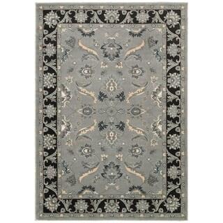 LNR Home Adana Grey/ Black Floral Rug (7'9 x 9'9)
