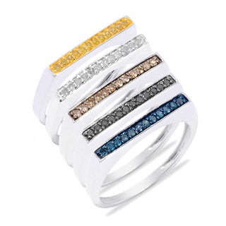 Sterling Silver 2/5ct TDW Color Diamond Stackable Flat Top Ring (H-I, I2-I3) (sold individually)