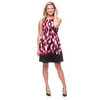 Vince Camuto Women's Black and Pink Geometric Print Fit-and-Flare Dress