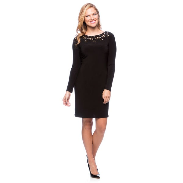 Vince Camuto Women's Beaded Neckline Long Sleeve Dress