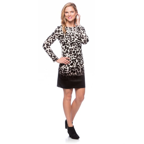 Vince Camuto Women's Animal Printed Long-sleeve Dress