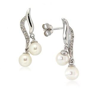 Pearlz Ocean White Freshwater Pearl and White Topaz Drop Earrings (5-6 mm)