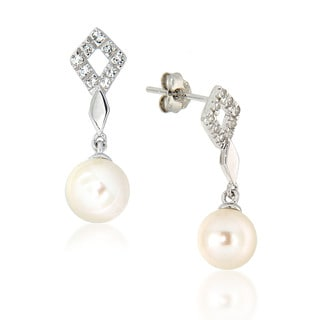 Pearlz Ocean White Freshwater Pearl and White Topaz Dangle Earrings (7-8 mm)