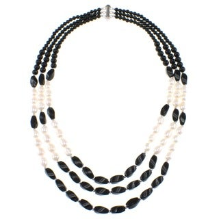 Pearlz Ocean Black Agate and Freshwater Pearl Triple Strand Necklace with Sterling Silver Clasp (7-9 mm)