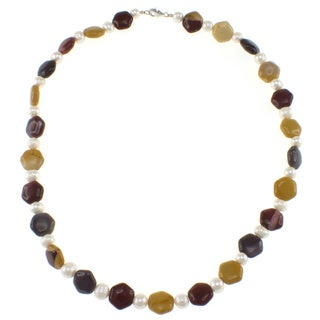 Pearlz Ocean Mookaite and Freshwater Pearl Necklace (7-8 mm)