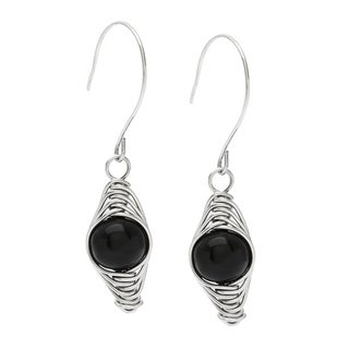Karla Patin 'Herringbone' Black Obsidian Dangle Earrings