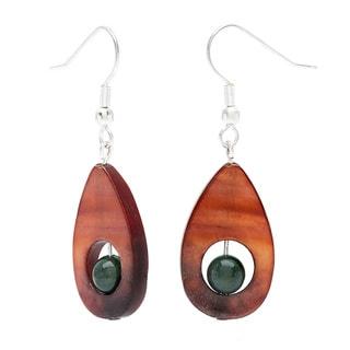 Karla Patin Jasper and Mother of Pearl Teardrop Dangle Earrings