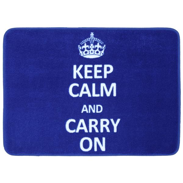 Memory Foam Keep Calm Carry On Cobalt 17 x 24 Bath Mat