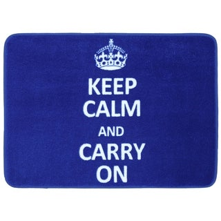 Memory Foam Keep Calm Carry On Cobalt 17 x 24 Bath Mat