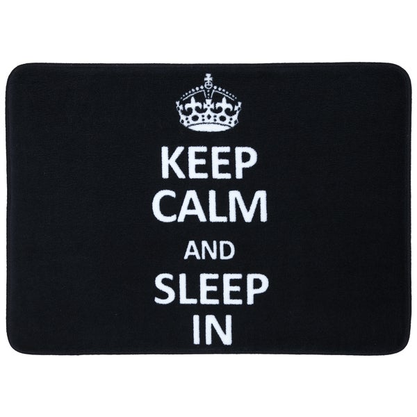 Memory Foam Keep Calm Sleep In Black 17 x 24 Bath Mat
