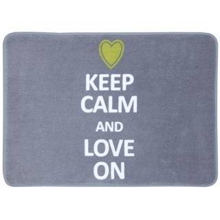Memory Foam Keep Calm Love On Grey 17 x 24 Bath Mat