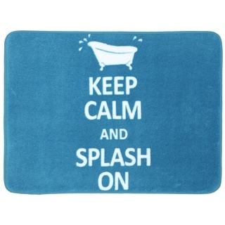 Memory Foam Keep Calm Splash On Turquoise 17 x 24 Bath Mat