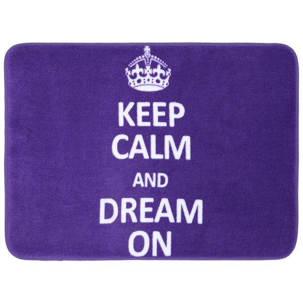 Memory Foam Keep Calm Dream On Purple 17 ix 24 Bath Mat