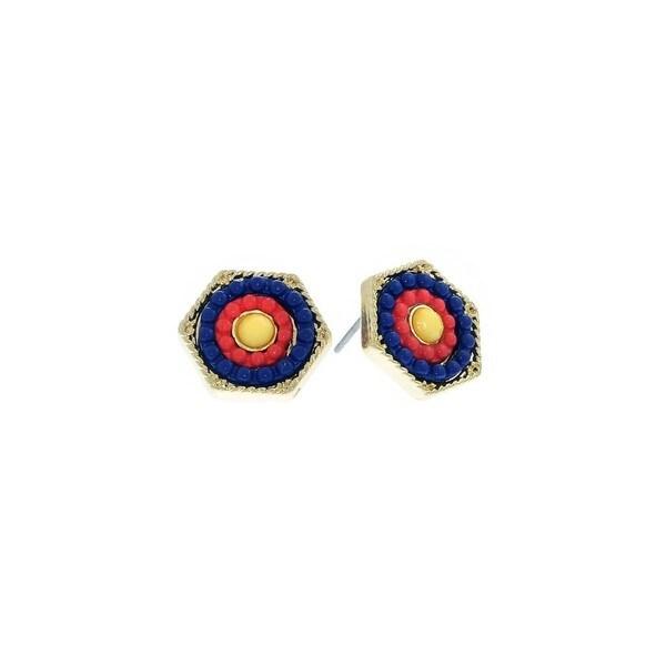 Pretty Little Style Goldtone Rhinestone Blue Hexagon Earrings