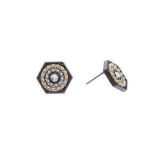 Pretty Little Style Silvertone Rhinestone Hexagon Earrings