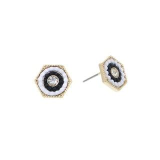 Pretty Little Style Goldtone Rhinestone Hexagon Earrings