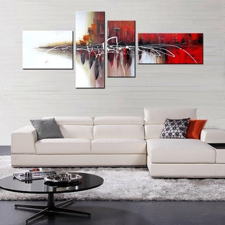 Hand-painted 'Abstract487' 4-piece Gallery-wrapped Canvas Art Set