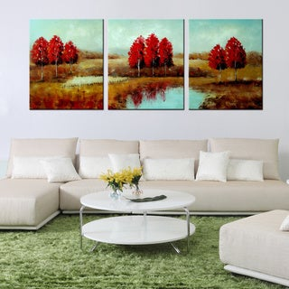 Hand-painted 'Pastoral 511' 5-piece Gallery-wrapped Canvas Art Set