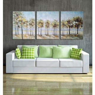 Hand-painted 'Forest of Shadows' 3-piece Gallery-wrapped Canvas Art Set