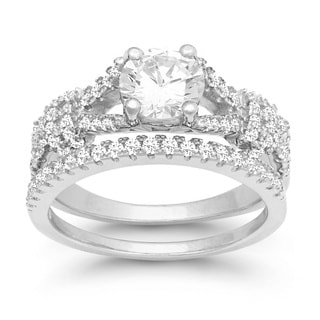 La Preciosa Sterling Silver Double-band Cubic Zirconia Engagement Ring