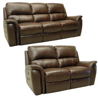 Porter Brown Italian Leather Reclining Sofa and Loveseat
