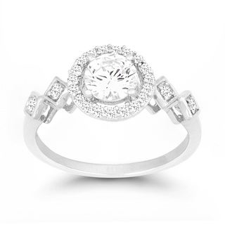 La Preciosa Sterling Silver Cubic Zirconia Engagement Ring