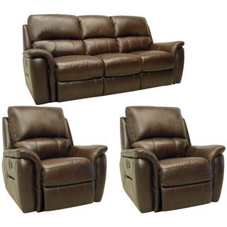 Porter Brown Leather Reclining Sofa and Two Glider/Recliner Chairs
