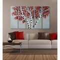 Hand-painted 'The Birch Tree' 5-piece Gallery-wrapped Canvas Art Set