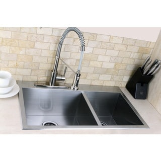 Topmount 31.5-inch Double Bowl Stainless Steel Kitchen Sink