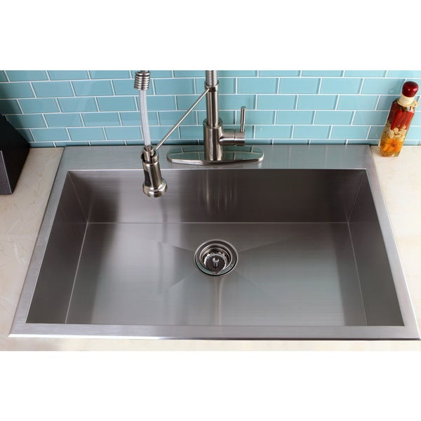 topmount 33 inch single bowl stainless steel kitchen sink 16317082