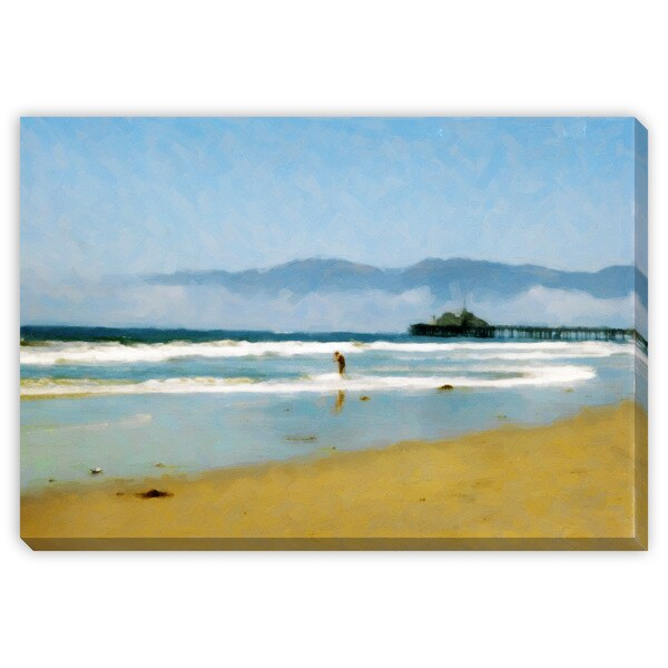Kim Curinga's 'The Pier at the Beach' Canvas Gallery Wrap