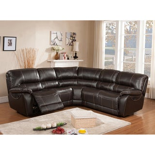 Regency Brown Italian Leather Motorized Power Reclining Sectional Sofa