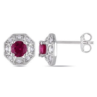Miadora Sterling Silver Created Ruby and 1/8ct TDW Diamond Earrings (H-I, I2-I3)
