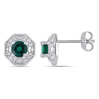 Miadora Sterling Silver Created Emerald and 1/8ct TDW Diamond Earrings (H-I, I2-I3)