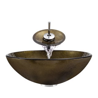 Polaris Sinks Bronze Foil/ Chrome Glass Vessel Sink and Faucet