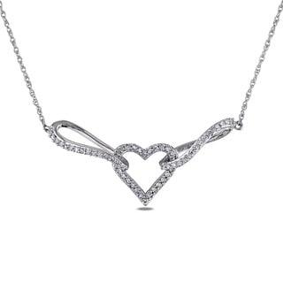 Miadora 10k White Gold 1/5ct TDW Diamond Heart Necklace (H-I, I2-I3)