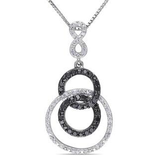 Miadora Silver 1/2ct TDW Black and White Diamond Infinity Necklace (H-I, I2-I3)