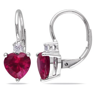 Miadora Silver Created Ruby and Created White Sapphire Heart Earrings